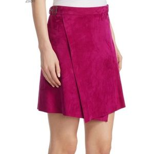 Theory Buckle Wrap Skirt in Electric Pink. NWT.